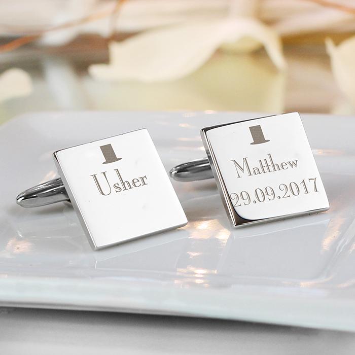 Personalised Decorative Wedding Usher Square Cufflinks Chose It
