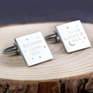 Personalised To the Moon and Back Square Cufflinks