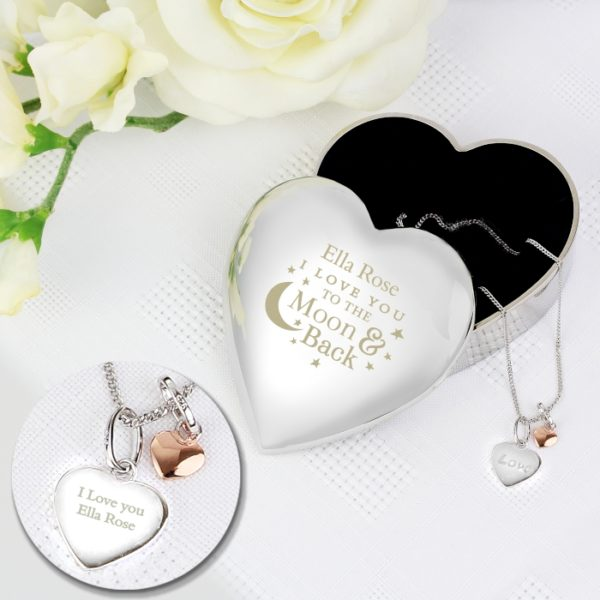 Personalised Engraved Moon and Back Heart Trinket Box & Silver Heart Pendant Gift Set