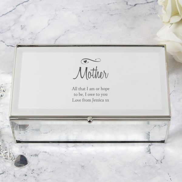 Personalised Swirls & Hearts Mirrored Jewellery Box