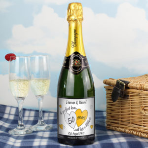Personalised A Perfect Love Gold Champagne