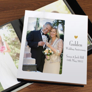 Personalised Decorative Golden Anniversary Photo Frame Album 4x6