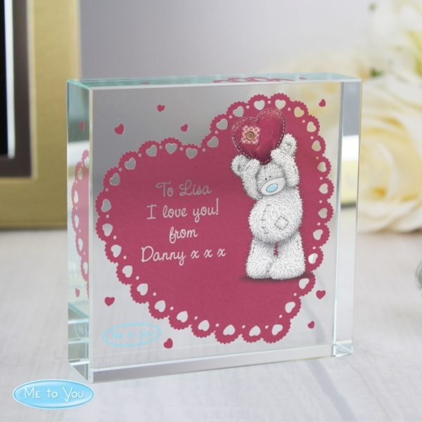 Personalised Me To You Heart Large Crystal Token