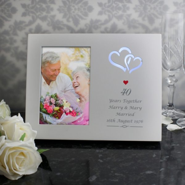 Personalised Red Hearts 4x6 Light Up Frame